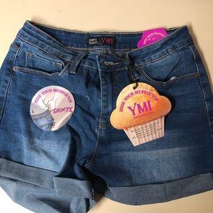 Dark Acid Wash Denim Shorts
